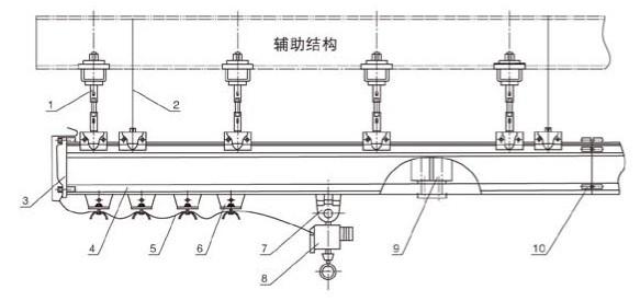 单梁悬挂输送设备以两根平行的H型轨道作为纵滑轨,在两根纵滑轨处置方向悬挂一根或多跟轨道作为横滑轨,其沿垂直方向的运动由电动起升设备来完成,可在三维空间内实现物料的停留、平移和输送。单轨悬挂输送设备的载荷可达500kg,当跨度较大时,可用加强横梁的方法来保证横轨的强度和刚性。